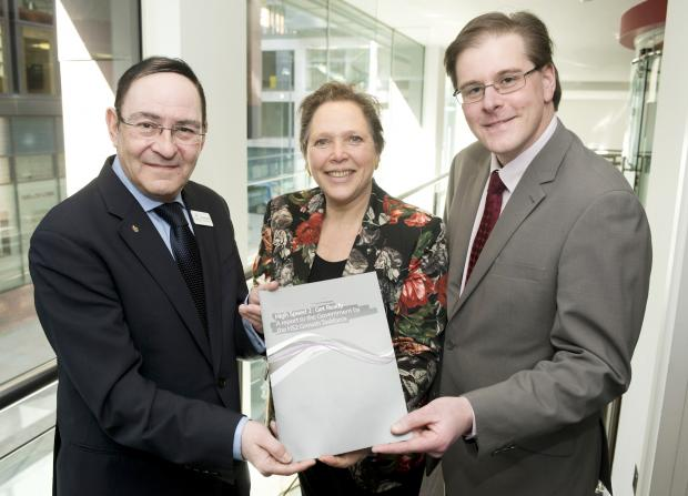 Baroness Kramer (centre) officially receives the 'High Speed 2: Get Ready' report from Sir Howard Bernstein (left) and Matthew Colledge (right)