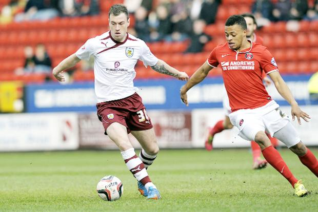 Ashley Barnes on the ball for Burnley in the win over Charlton – when the striker opened his Clarets account
