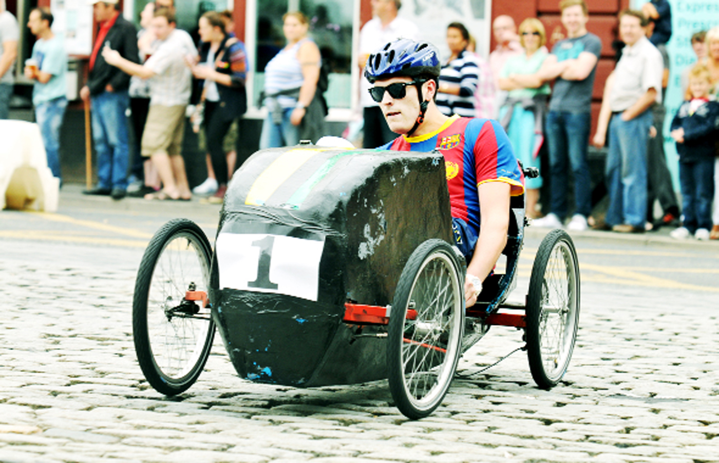A scene from the pedal car grand prix in Darwen which Nelson now aims to match