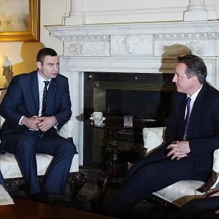 This Is Lancashire: Ukrainian MP Vitaly Klitschko speaks with Prime Minister David Cameron at 10 Downing Street