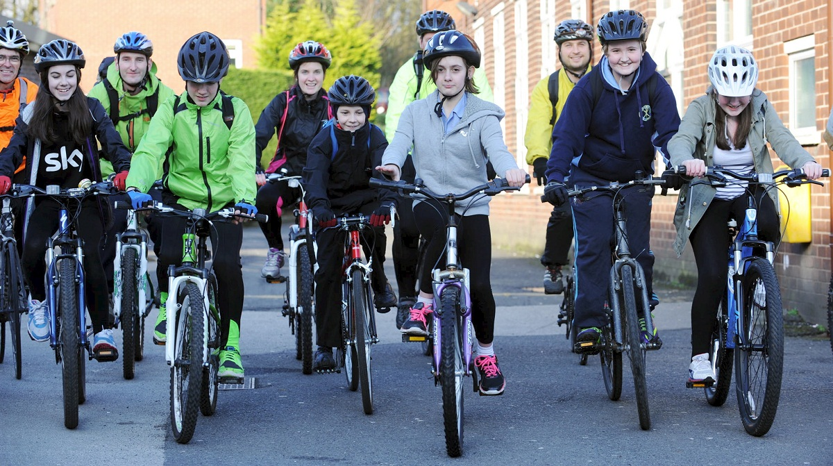 Teachers and pupils from St Gabriel's High School take part in The Big Pedal