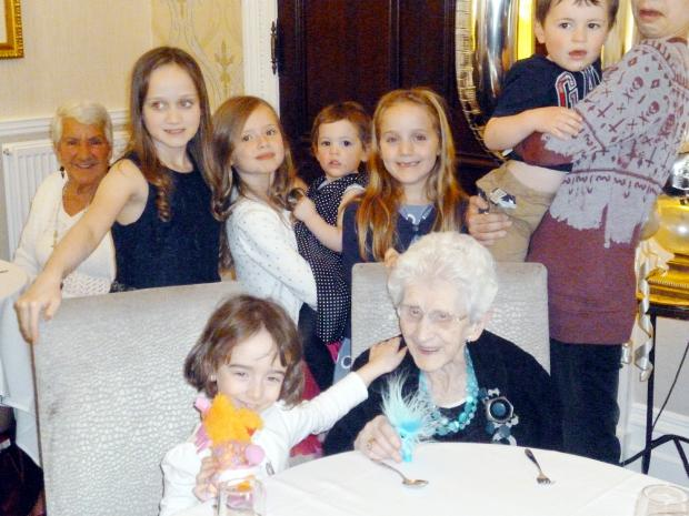 This Is Lancashire: Great grandmother celebrates her 100th birthday in style