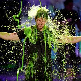 Mark Wahlberg gets slimed at the Kids' Choice Awards in Los Angeles (Invision/AP)