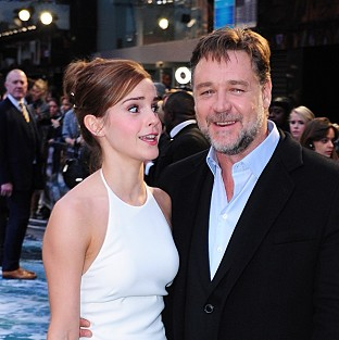 Emma Watson and Russell Crowe arriving for the premiere of the film Noah in London