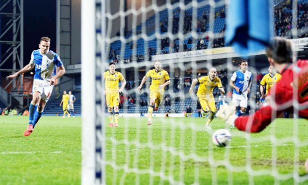 Jordan Rhodes nets his 50th goal for Rovers from the spot in last night's 3-3 draw 	Picture: CLIVE LAWRENCE