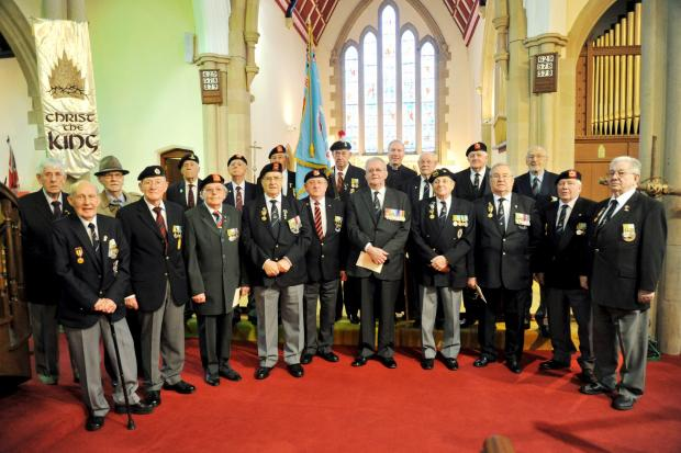 This Is Lancashire: Members of the British Korean Veterans' Association Greater Manchester branch at Christ Church Egerton