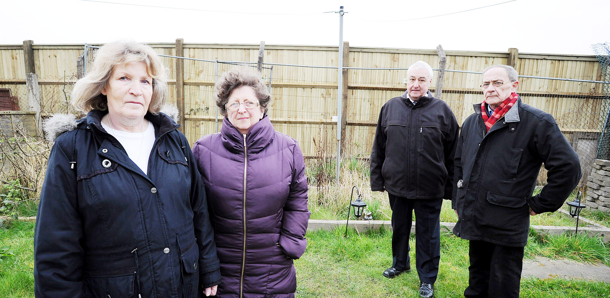 Residents Hilary Smith, left, and Rina Horner with prospective councillor for Little Lever Eric Hyde and local activist Paul Richardson