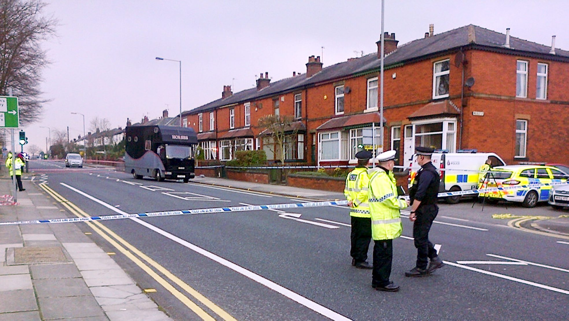 Police at the scene of the accident in Bolton Road, Bury