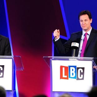 Nick Clegg (right) said his debates with Nigel Farage were just a