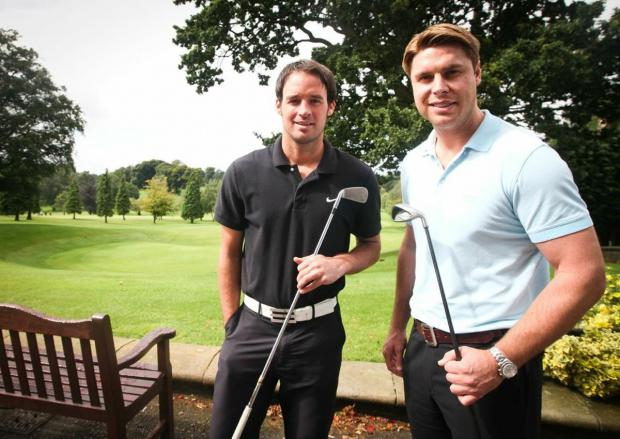 On the fairways: Garry Flitcroft (right) and Matt Jansen