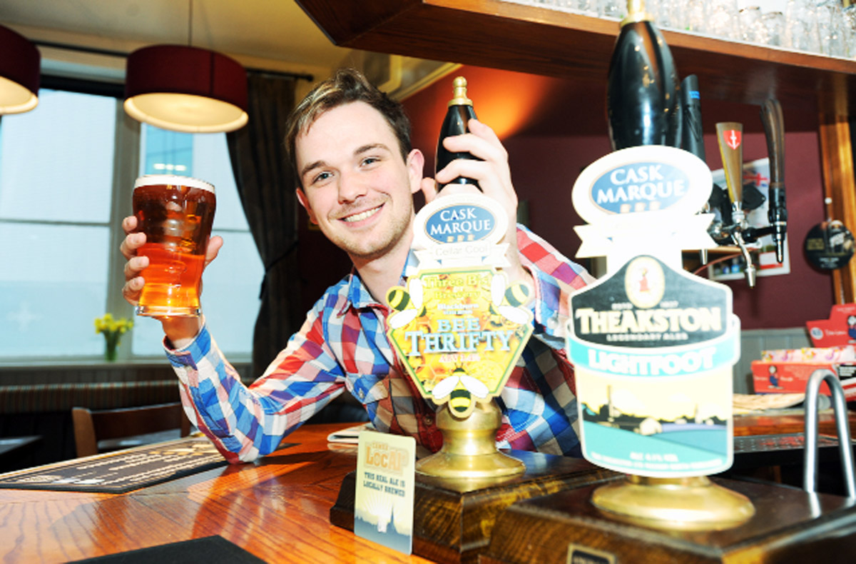 Landlord Matt Worden at the Crown pub in Darwen which has just been awarded Cask Marque status