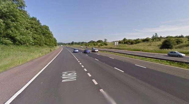 This Is Lancashire: The M61 northbound, near Rivington services. Picture from Google Maps.