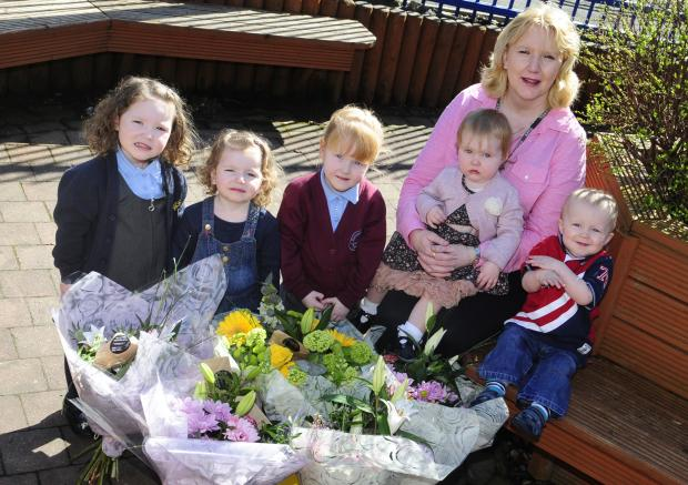 Patricia Booth with her grandchildren, from left, Chloe Mai Hindle, Ruby Walsh, Lucy Ann Walsh, Amelia Hindle and Connor Smith