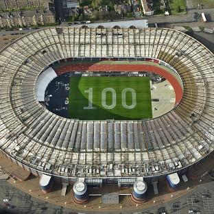 An aerial image of a giant 100 which has been painted on the grass at Hampden Park to mark 100 days to go until the Commonwealth Games. (Sandy Young/PA)