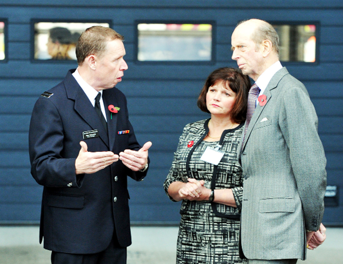 Coun Julie Cooper with the Duke of Kent on a recent visit to Burnley Community Fire Station where they met crew manager Alan Ashworth