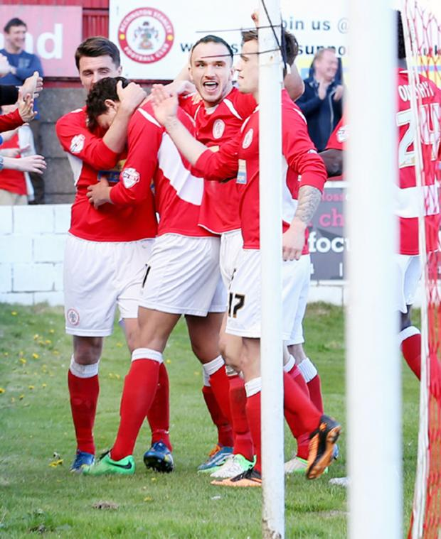 This Is Lancashire: Stanley celebrate Kal Naismith's equaliser