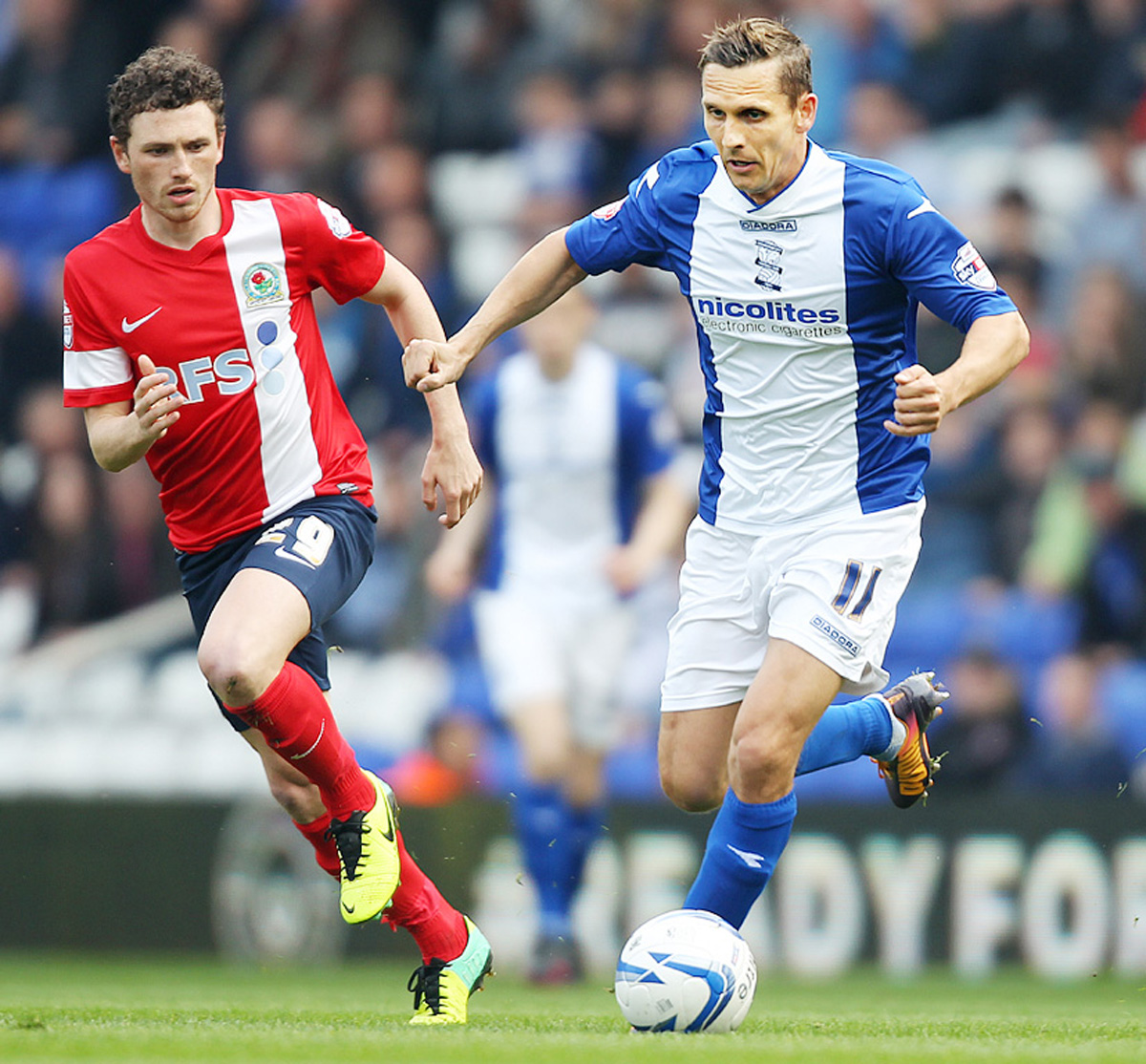 Corry Evans tracks his man at Birmingham