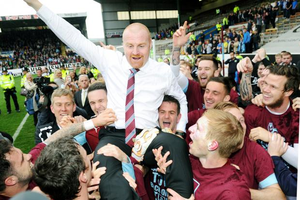 Sean Dyche celebrates promotion with Burnley