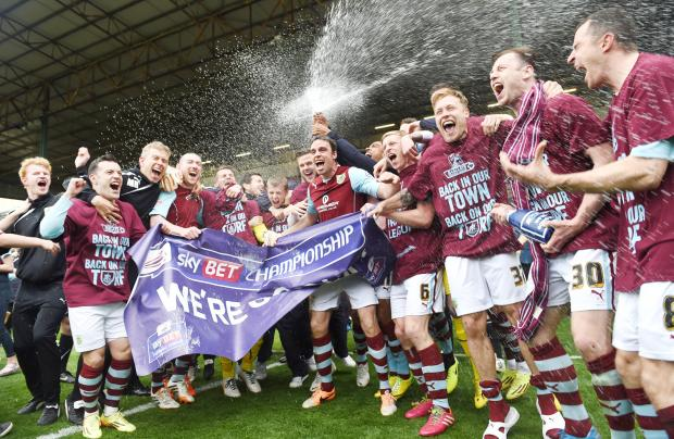 Burnley party with the bubbly