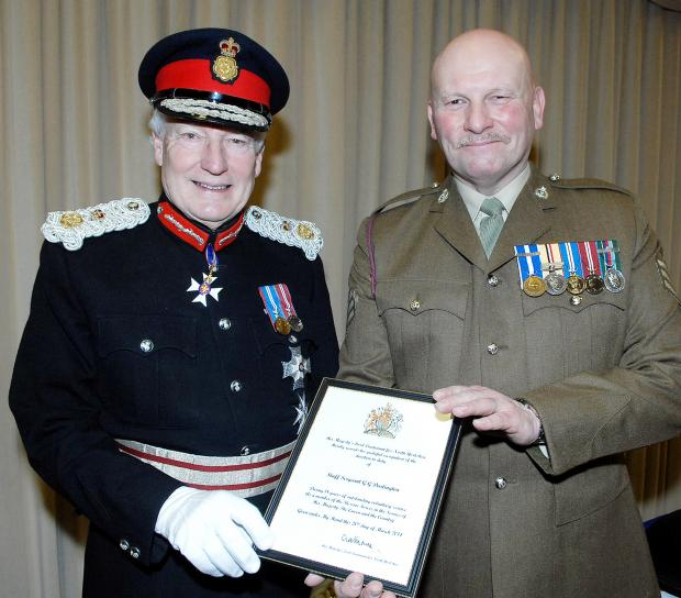 Staff Sergeant Darlington, right, with Lord Crathorne, Lord-Lieutenant for North Yorkshire