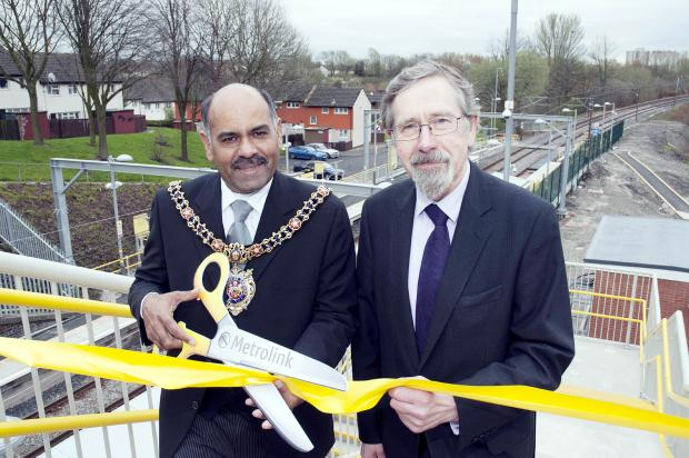 At the Queens Road stop opening are Cllr Naeem ul Hassan, left, and Cllr Andrew Fender
