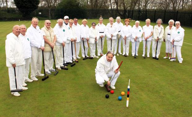 Members of the croquet club with Chairman Paul Kenworthy, front