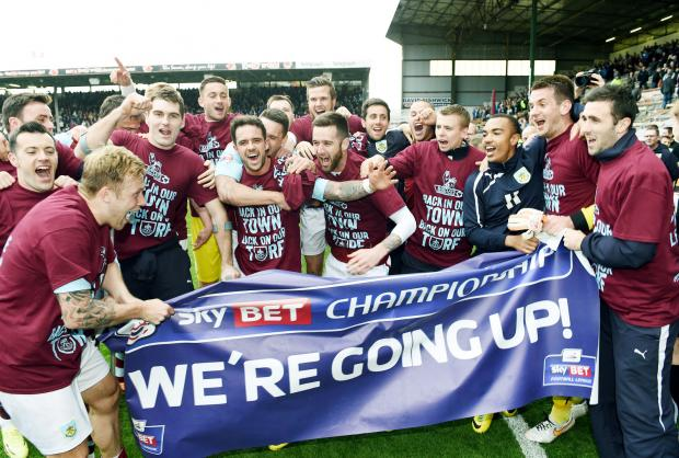 Burnley celebrate promotion on Monday