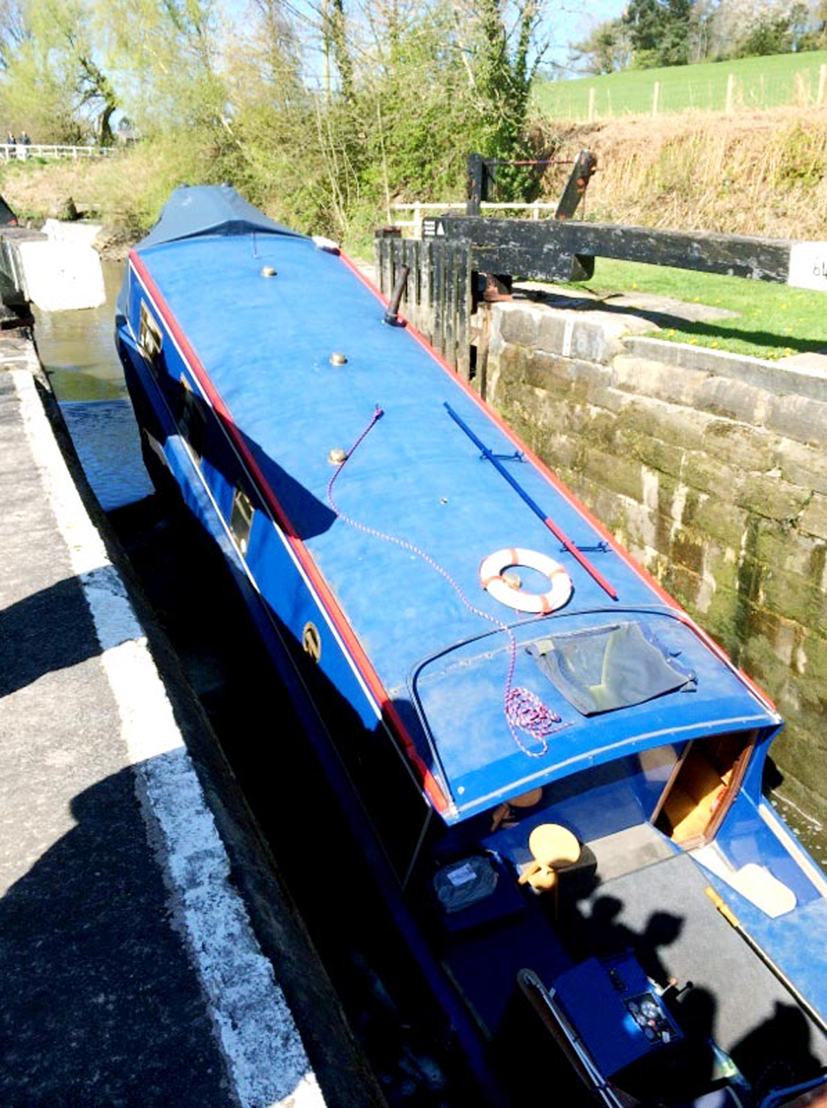 the canal boat wedged in the lock between Chorley and Wheelton.