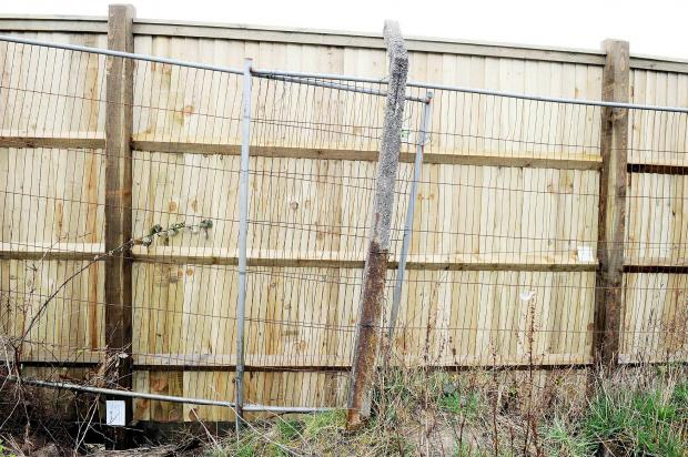 The offending fencing at the back of Ainsworth Road