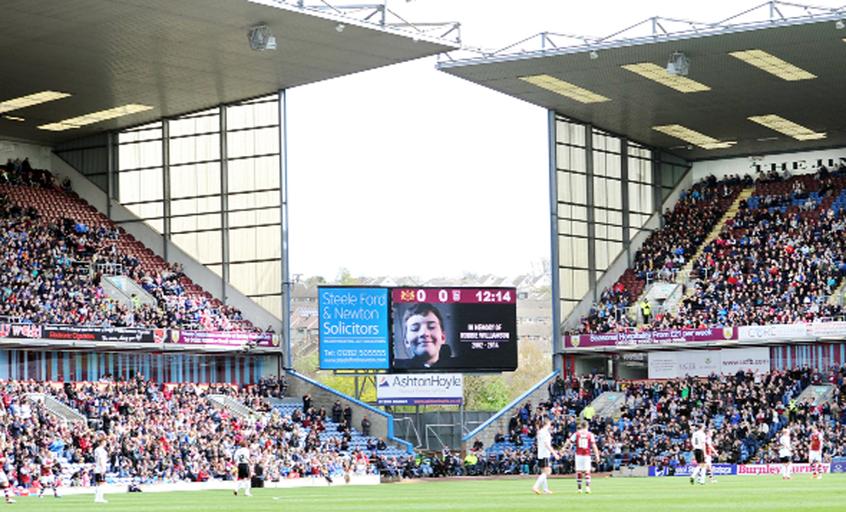 Robbie Williamson's face on the big screen at Turf Moor on Saturday