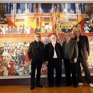 Sir Peter Blake is joined by Roger Daltrey, Brian May and Bill Wyman at the unveiling of his triptych at the Royal Albert Hall