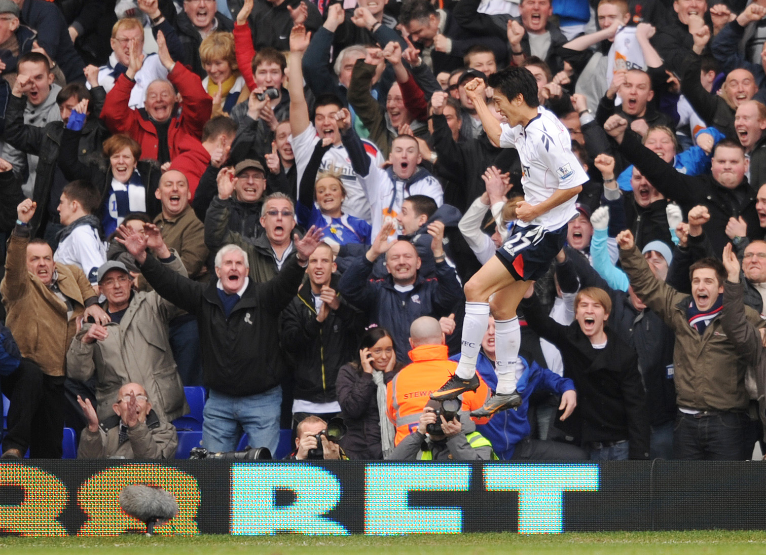 JUMPING FOR JOY Chung-Yong Lee celebrates after scoring Bolton's winning goal