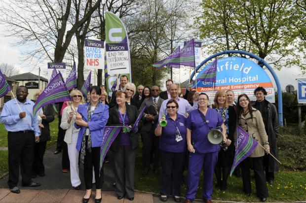 Unison members protesting outside Fairfield Hospital