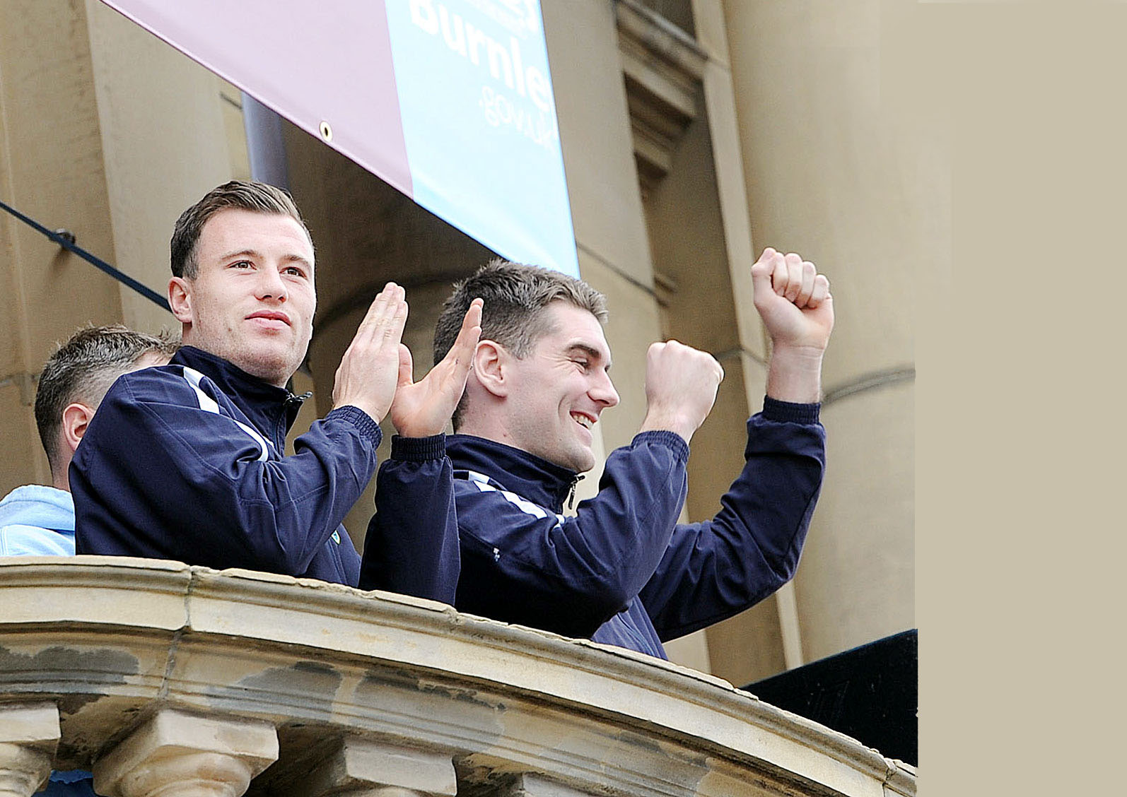 Sam Vokes (right) and Ashley Barnes salute Burnley's fans