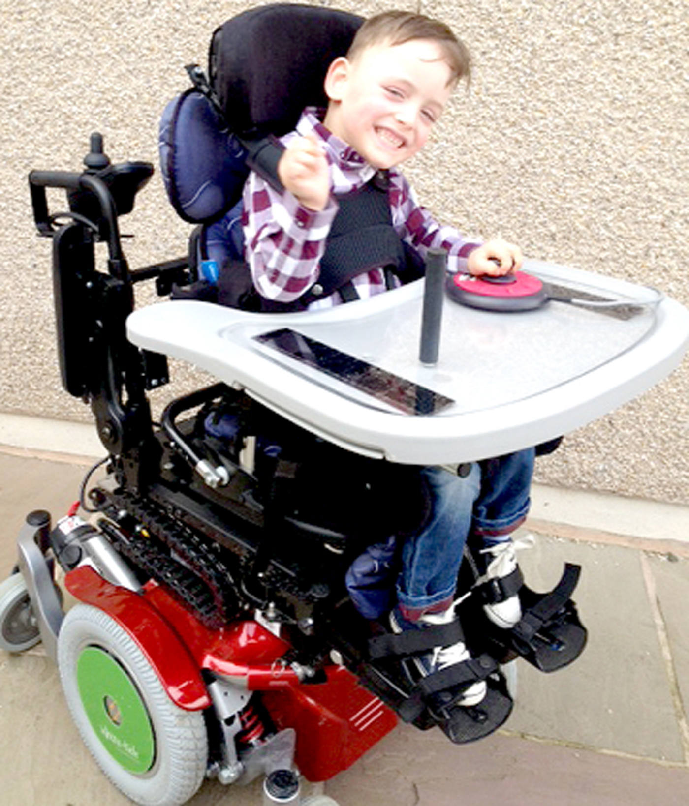 Noah Pickard in his wheelchair
