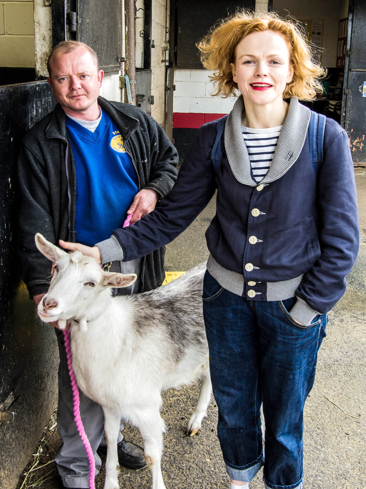 Maxine Peake with Peter Hesketh, Bleakholt farm manager, and Gary the goat