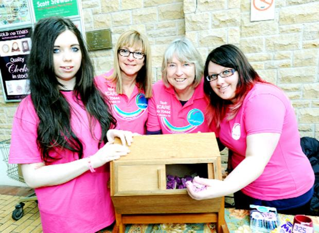 Fundraisers, from left, Caitlin Jones, Elaine Gaffney, Kiaran Weil and Natalie Thirsk
