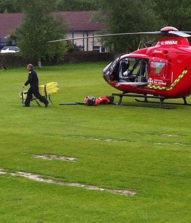 The worker, who is in his 30s, was taken to Royal Blackburn Hospital with back and chest injuries