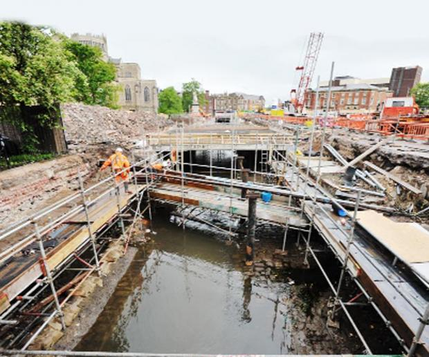 Town centre development uncovers hidden waterway
