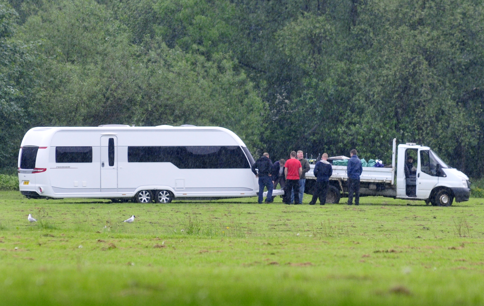 Travellers camp in Leverhulme Park before leaving Bolton