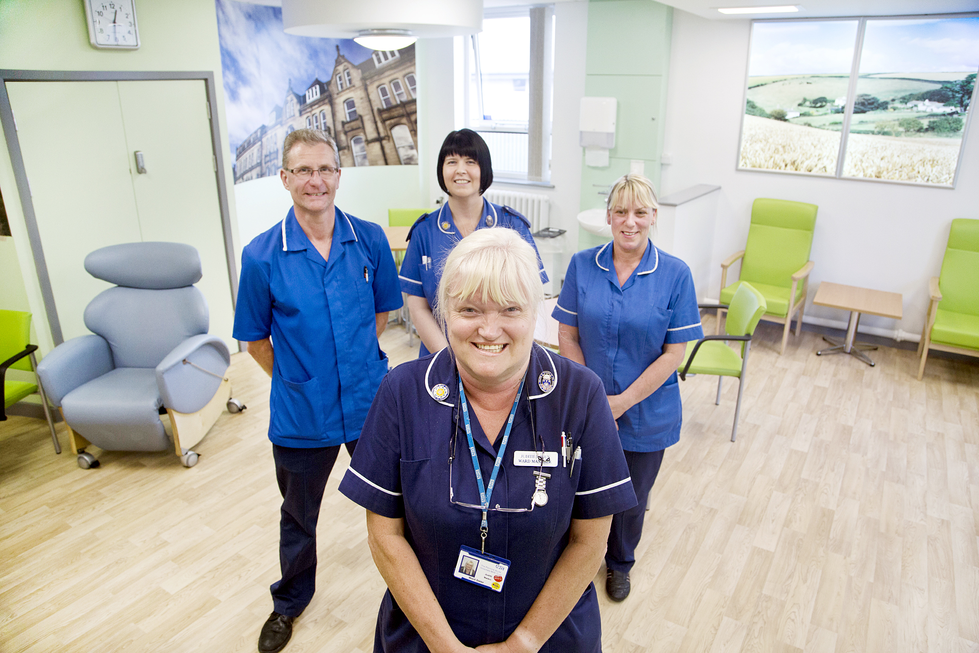 From left, staff nurse Paul Crocker, sister Mel Riordan and staff nurse Louise Worthington. Front, ward manager Judith Maden