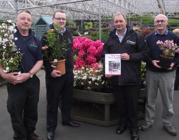 This Is Lancashire: GARDEN GURUS: From left, Steve Ainscough of Birkacre Garden Centre, CCH's Mike Murphy, Bob Webster of Chorley Council, and Dave Brown of of the gardening society