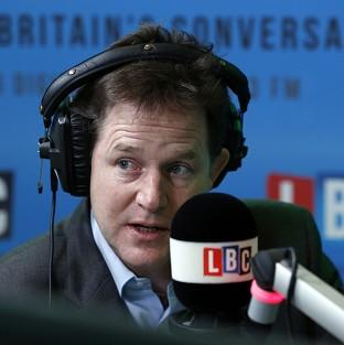 This Is Lancashire: Nick Clegg faces questions from the public on his weekly radio phone-in on LBC Radio