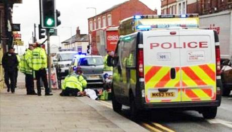 This Is Lancashire: The scene of the accident at the junction of Bradshawgate and Great Moor Street