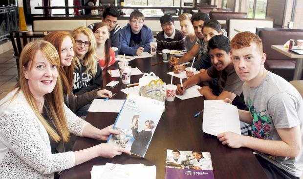 Caroline Molyneux and her pupils get down to revision at McDonald's