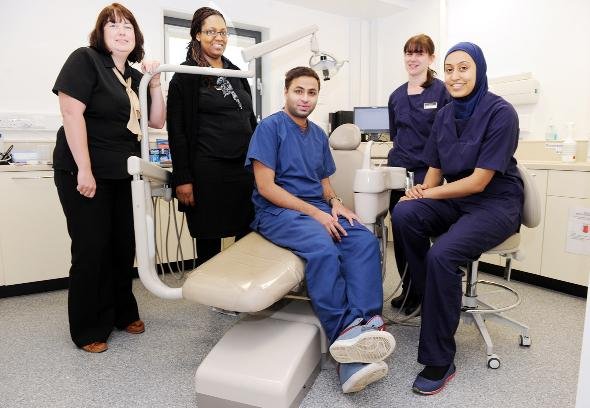 Some of the Ravat and Ray team, from left, practice manager Sharon Fletcher, receptionist Pauline Garandia, dentist Mudasser Hussain and dental nurses Zoe Trayford and Aisha Younas
