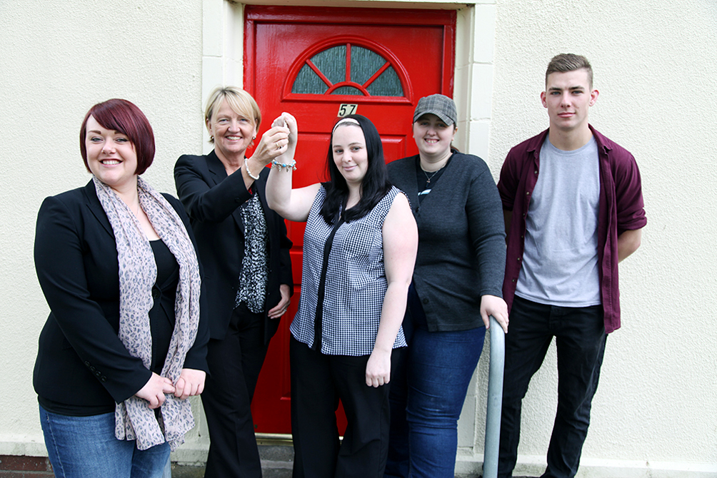 From left, Kimberley Ross, training and shared housing coordinator at Key, Sue Whitham, head of housing support for Progress Housing Group and new tenants Amanda Blakeley, Zoe-Marie Belshaw and James Timms outside their new share