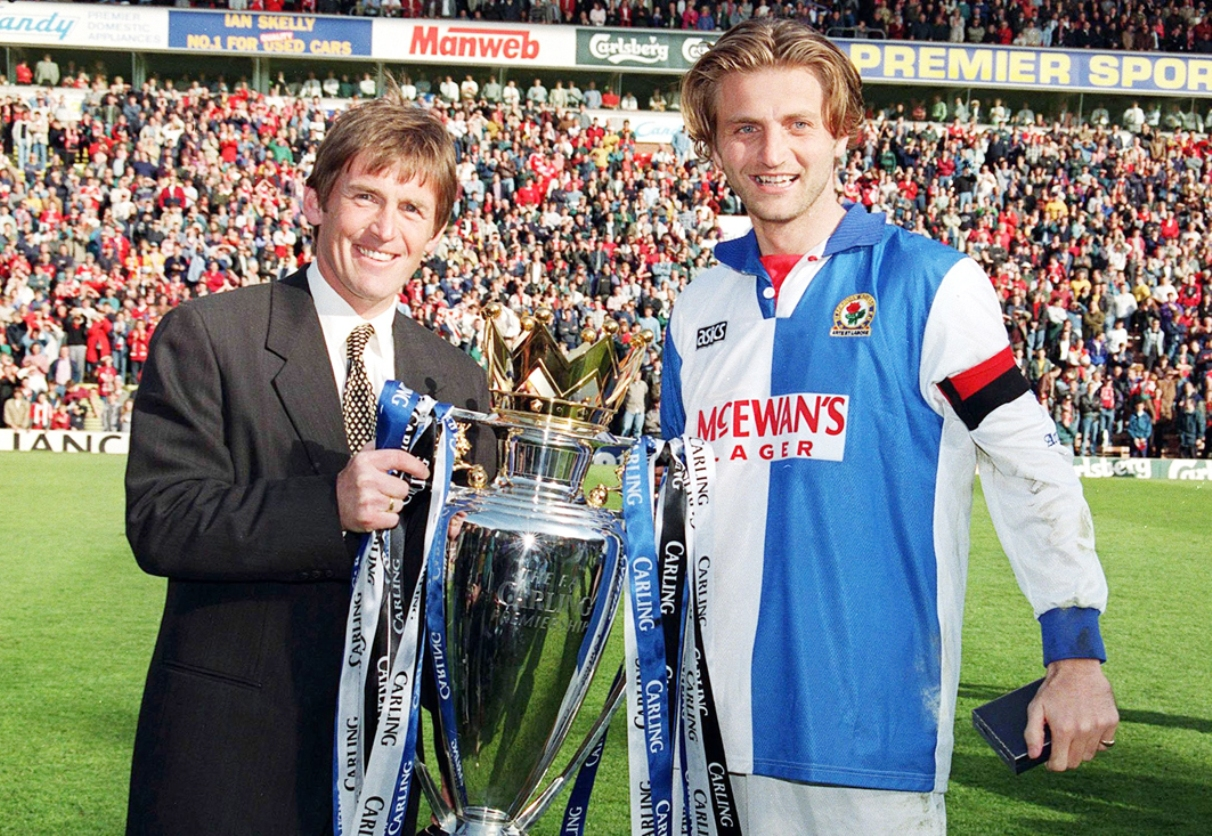 Kenny Dalglish and Tim Sherwood with the Premier League trophy at Anfield