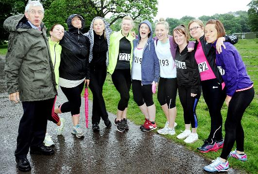 Blackburn MP Jack Straw, left, meets runners before the start of the 5k challenge at Witton Park.