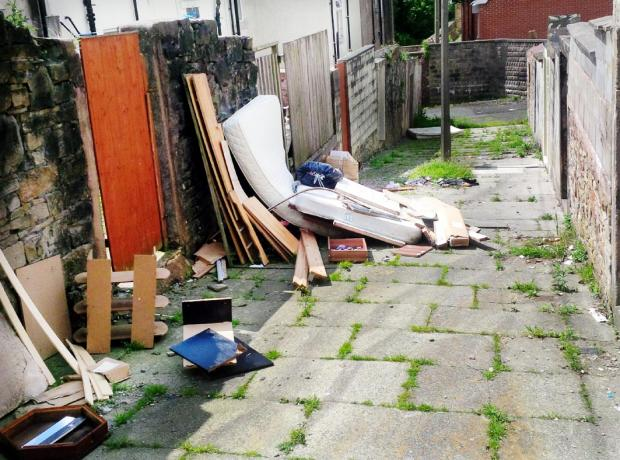 Aftermath of the latest fly-tipping in Darwen – this is the back of Primrose Street